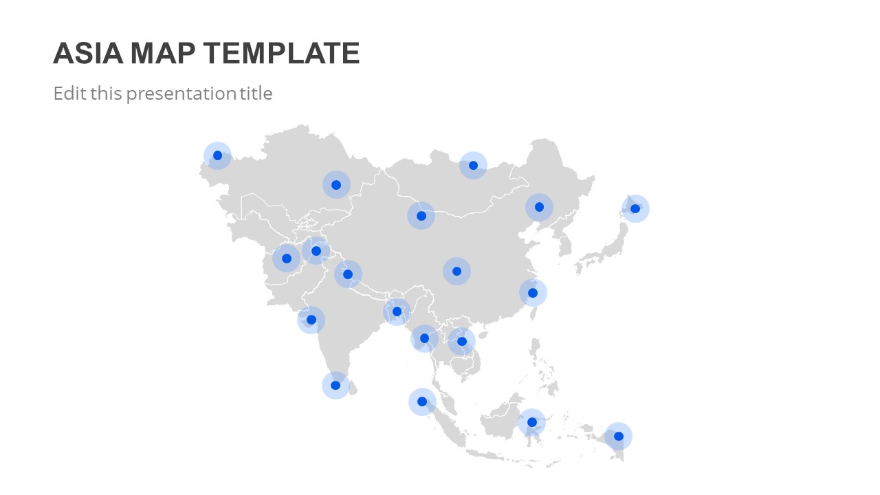 Map Of Asia Template.Slide Market Presentation Templates